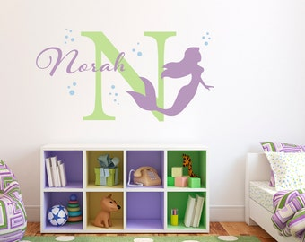 Initial & Name Decal with Mermaid and Bubbles - Mermaid Wall Decal - Custom Girls Name Decal - Large