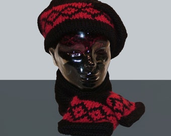 PDF Knitting Pattern Hot Scotch Hat and Scarf (Instant Download)
