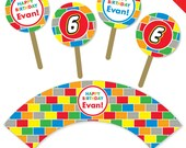 Building Bricks Party - Personalized DIY printable cupcake wrapper and topper set