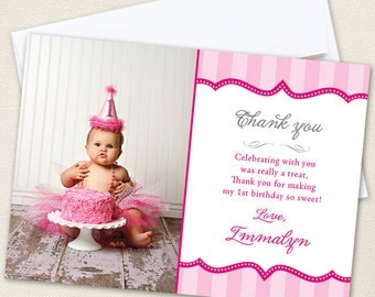 Pretty in Pink Photo Thank You Cards - Professionally printed *or* DIY printable