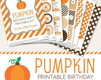 Pumpkin Birthday Party printable decor kit - Over 45 pages of cute designs!
