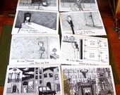 Baker Street Tinies - 8 Handmade Cards casting Sherlock BBC in the style of Edward Gorey