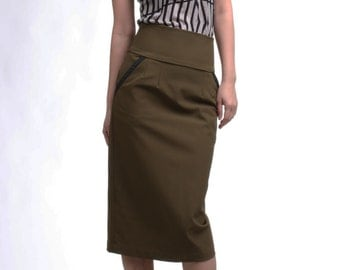 Leather Trim High Waist Pencil Skirt with Pocket, Khaki Straight Skirt, Tailored Skirt, Office Skirt, Knee Length Skirt / Handmade Skirt