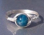 Med Apatite Ring, Argentium Sterling Silver Ring, Wire Wrapped Stone Mineral Ring