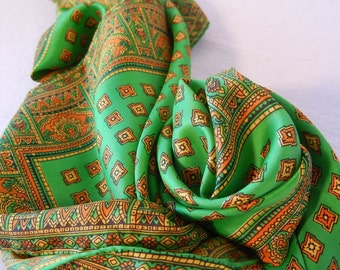 Bright Grass Green Silk Scarf with Ornate Orange and Brown Border, Rolled Hem, 50s 60s