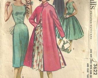 McCalls 3622 // Vintage 50s Sewing Pattern // Dress Coat // Size 14 Bust 32