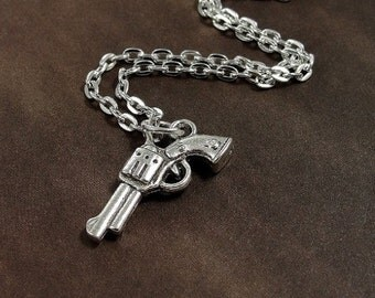 Pistol Necklace, Silver Pistol Charm on a Silver Cable Chain