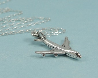 Airplane Necklace, Sterling Silver Airplane Charm on a Silver Cable Chain