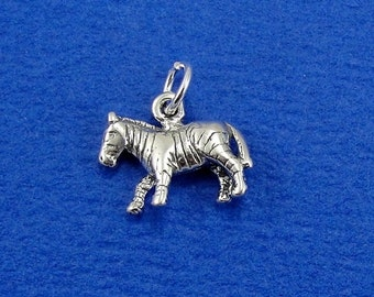 Zebra Charm - Sterling Silver Zebra Charm for Necklace or Bracelet