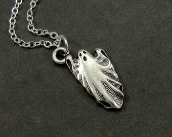 Ghost Necklace, Silver Ghost Charm on a Silver Cable Chain