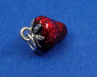 Red Strawberry Charm - Silver Plated Red Strawberry Charm for Necklace or Bracelet