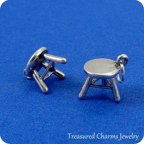 Footstool Charm Sterling Silver Step Stool Charm For