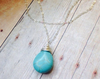 Turquoise Necklace, Layered Necklace