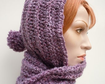 Purple Hooded Scarf - Broque Purple Pixie - Purple Scoodie - Hat and Scarf