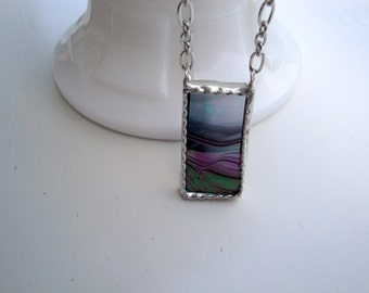 Sale - Iridescent Stained Glass Necklace