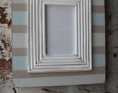 4x6 Stripe Frame in Sea Salt, Tradewinds and perfect Greige with White Railed Trim