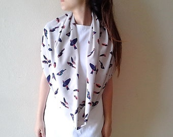 Bird Scarf Infinity Scarf Circle Scarf Bird Prints Scarf, Flying birds scarf