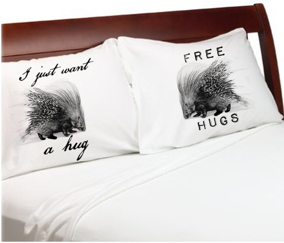 Items similar to Anniversary Couple Pillow Cases Porcupine ...
