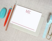 Modern Two Letter Monogram Stationery | Set of 10 Personalized Flat Note Cards | Initial Monogram | Custom Colors