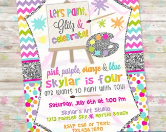 Art Party Invite, Girl Art Party, Art Party Invitation, Paint Party, Digital or Printed, Glitter Art, Glitter, Invites, DIY