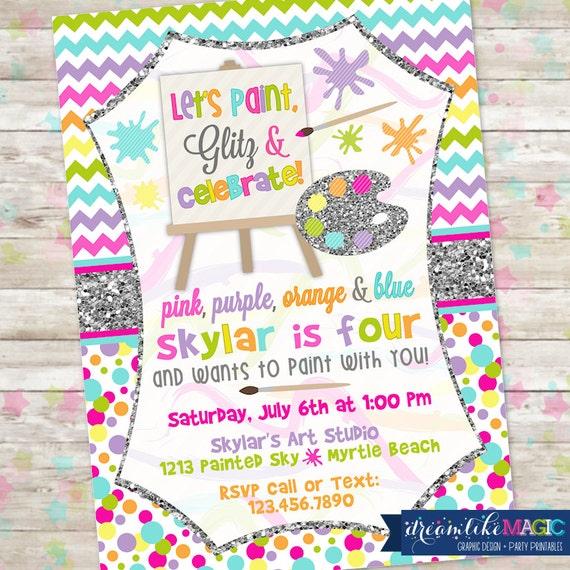 Art Party Invite Girl Art Party Art Party Invitation Paint – Art Party Invitation