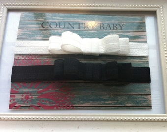 Black and White Baby Bow Headband Pack...Black and White Headband Set...Elastic Headband Set...You choose size