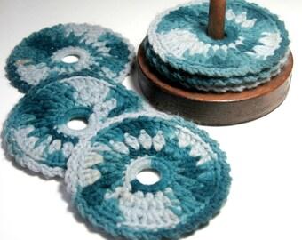 Coaster Set, Vintage Coasters, Vintage Crochet Coasters with Wood Stand, Mug Rug Set, Vintage Coaster Stand, Blue Crochet Coaster Set