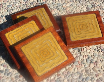 Artisan Tile and Wood Drink Coasters - Mustard Color - Handmade Vintage - Mahogany and Mustard