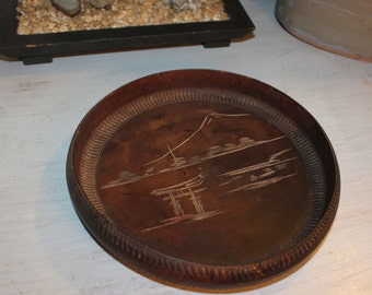 Japanese wood Bowl - Hand Carved - Mt Mount Fuji - Serving or Decor
