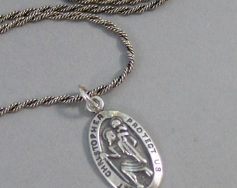 Saint Christopher,Necklace,Men,Jewelry,Saint,Chrisopher,Medal,Silver,Sterling Silver. Handmade Jewelry by Valleygirldesigns.