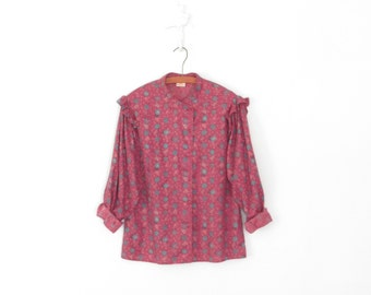 Vintage 70s Blouse * Butterfly Ruffle Button-up Shirt * Medium - Large