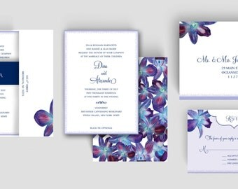 Wedding Invitation - Watercolor Orchids - Printing Deposit
