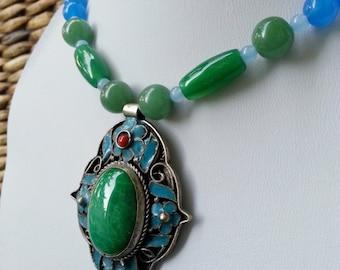 Victorian Necklace Big bold Vintage Enamel Pendant Jade Sapphire necklace
