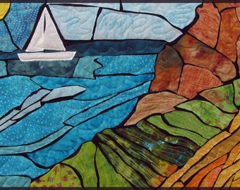 Stained Glass Holy Land Landscape Sailboat Quilted Fiber Art Wall Hanging