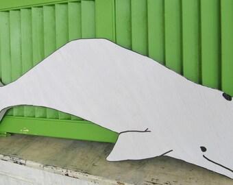 Baby Beluga. Reclaimed Wood Beluga Whale Sign, Wood Beluga Whale wall Hanging. Made to Order