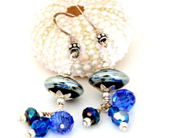 Cobalt and Sterling Silver Glass Bead Earrings. Sapphire Blue Dangle Earrings. Lampwork Jewelry. Deep Blue Drop Bead Earrings.