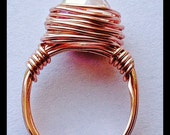 Rose Gold Wire Wrapped Ring With Swarovski AB Crystal, Handmade Wire Wrapped Ring, Wrapped wire ring, Rose Gold Ring
