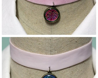 Pastel Goth Holographic 2 In 1 Reversible Velvet Elastic Choker - Pastel Pink With Your Choice Of Images