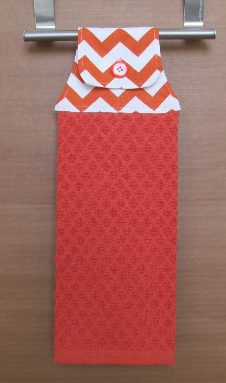 Orange And White Chevron Hanging Kitchen Towel
