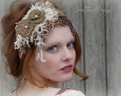 Rustic Veil / Bohemian Wedding / Headpiece / Burlap Headband