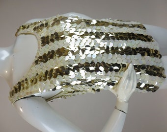 Vintage 1960s Top, Ivory Wool Shell with Iridescent Cream and Shiny Gold Pailettes,  Size Small, Shimmy like a Go Go Girl!