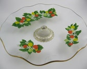 Vintage Glass Serving Tray with Painted Oranges Lemons and Limes, Footed Pedestal, English