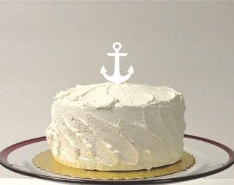 MADE In USA, Nautical Wedding Cake Topper, Anchor Wedding Cake Topper, Decoration Acrylic Beach Themed Topper Nautical Cake Topper Anchor