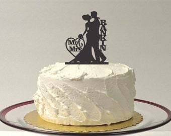 MADE In USA, Mr and Mrs Silhouette Cake Topper Monogram Personalized Silhouette Wedding Cake Topper Bride and Groom Cake Topper