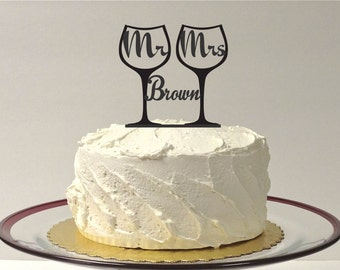 MADE In USA, Personalized Mr & Mrs Toasting Wine Glass Wedding Cake Topper, Champagne Glass Wedding Cake Topper, Toasting Glasses