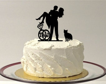 ADD YOUR CAT Personalized Cute Wedding Cake Topper with Your Family Last Name Silhouette Cake Topper Bride + Groom + Pet Cat Monogram