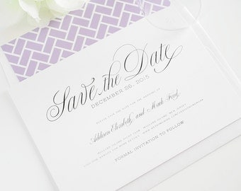 Garden Script Save the Date - Elegant Save the Date with Calligraphy shown in Amethyst Purple - Deposit
