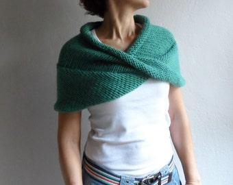 Hand Knitted  Chunky Wool  Scarf  Hoodie in Jade Green ,  Infinity Scarf  Hood Cape Cowl Neckwarmer Shawl wrap poncho