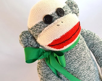 Sock Monkey Doll in Green, Choice of Child Friendly Eyes,  Choice of Custom Name on Heart