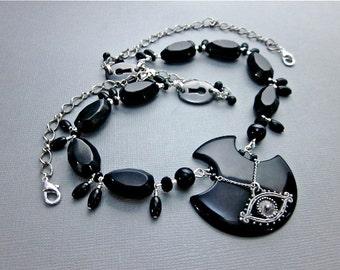 Black Gem Necklace -- Large Black Necklace -- Black Onyx Bead Necklace -- Protection Gemstone Necklace -- Black Onyx Statement Necklace
